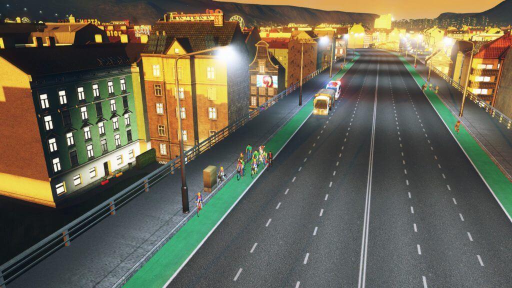 Cities:skylines自転車専用道路の跨道橋をサイクリング