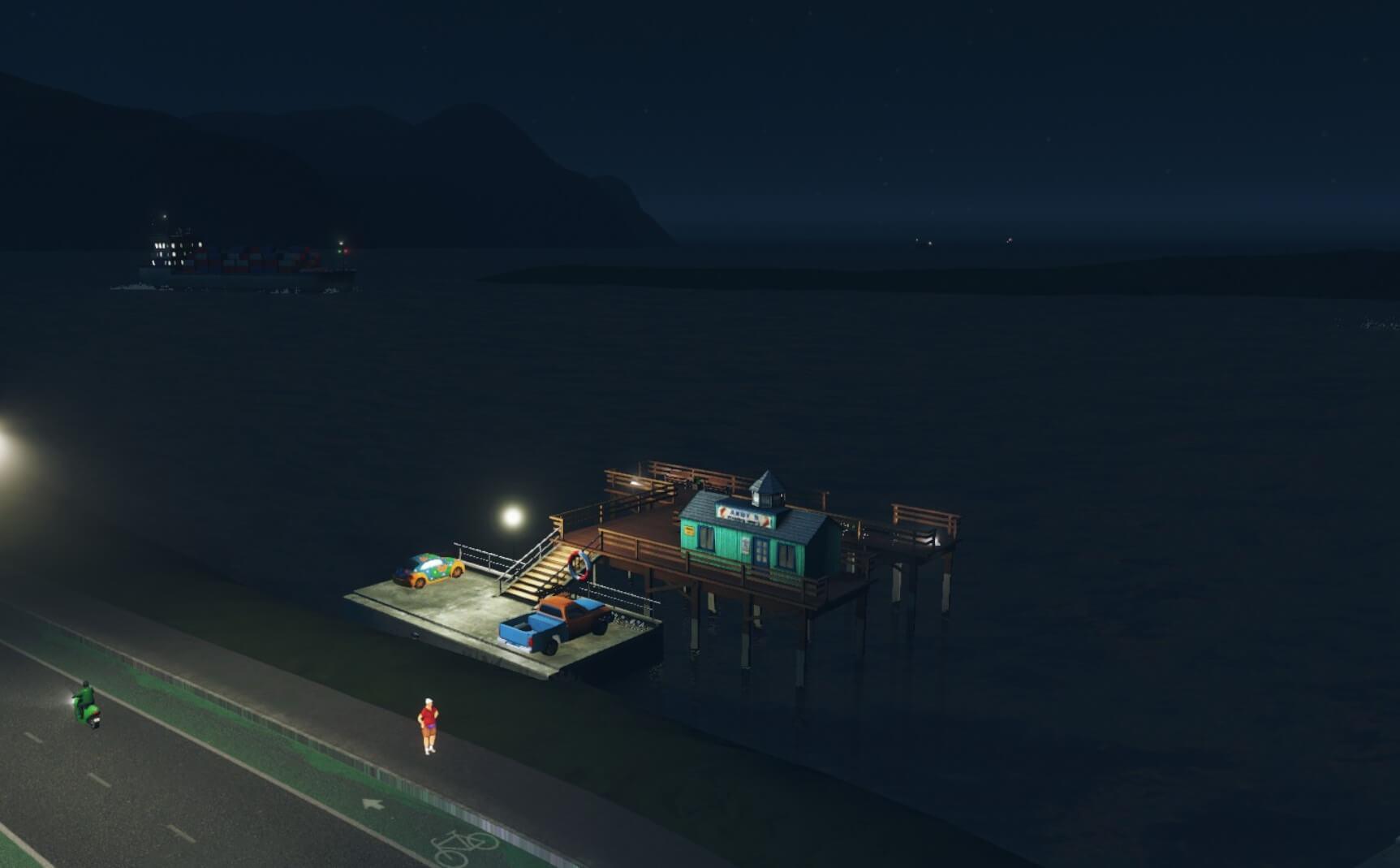 Cities:skylines真夜中のフィッシングツアー星空が見えます