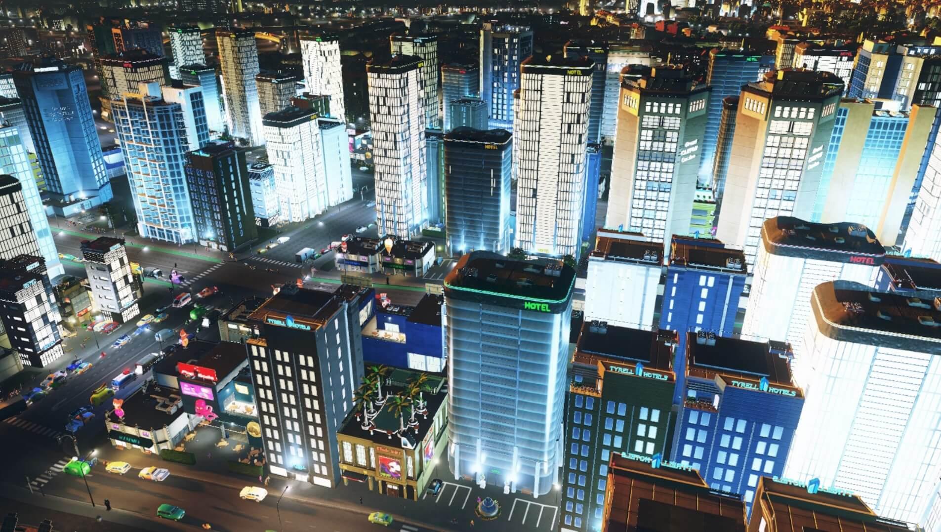 Cities:skylines観光特区区画の夜景