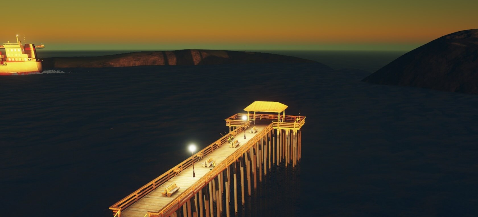 Cities:skylines夜明けの釣り桟橋