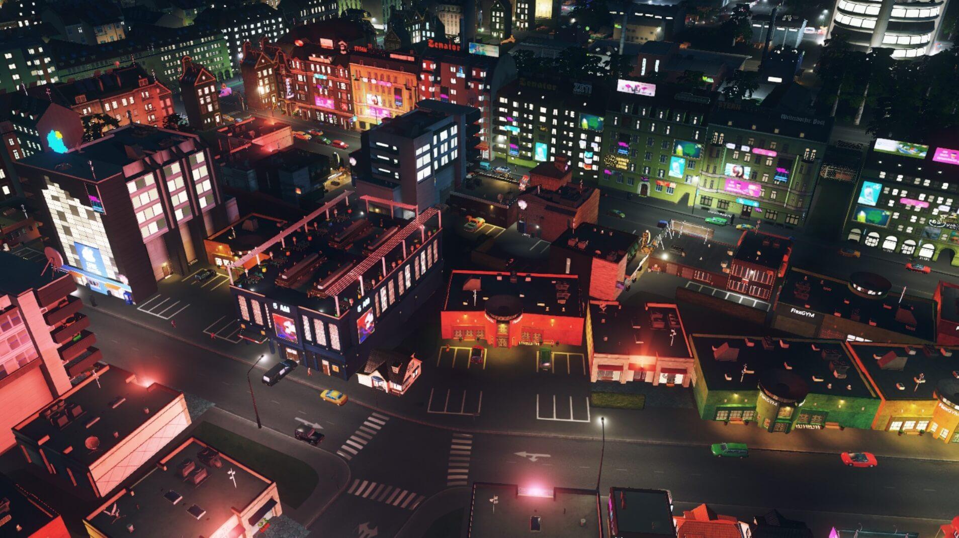 Cities:skylinesレジャー特区区画の夜景