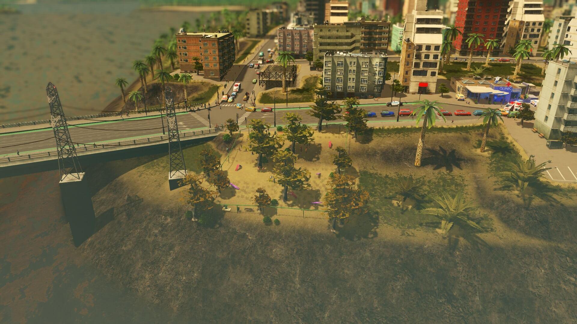 Cities:skylines 電線設置のために建築されたドッグパーク