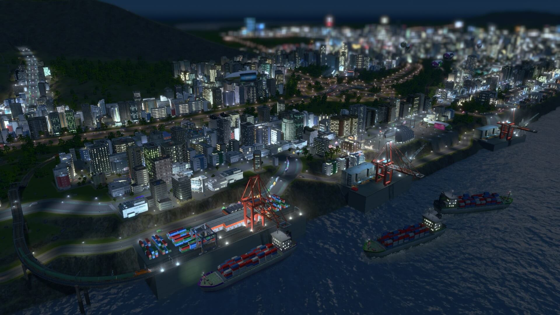 Cities:skylines 貨物港ハブ港鉄道と連携