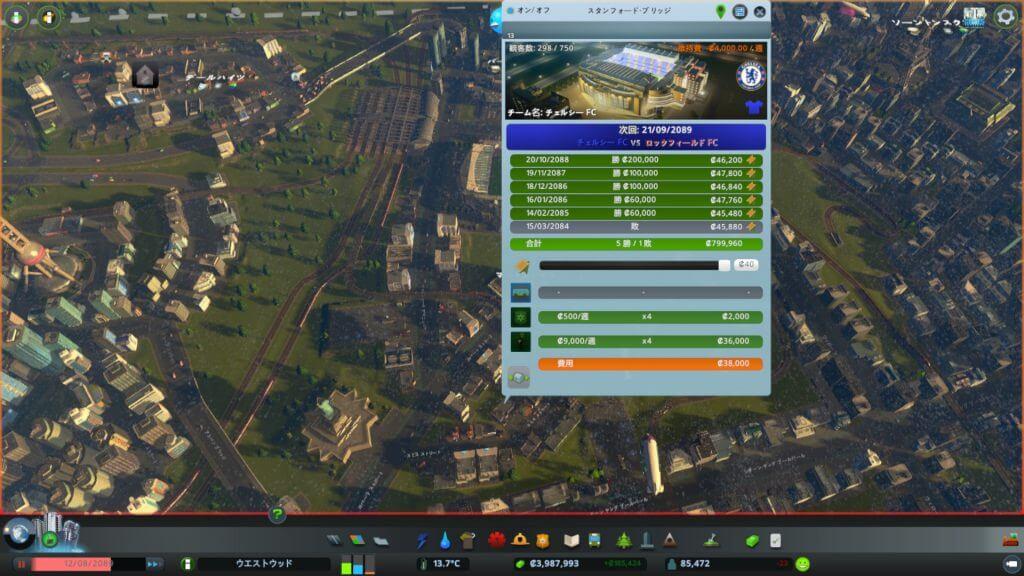 Cities:skylines サッカースタジアムの収益